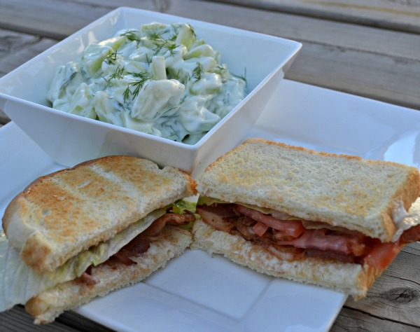 Butterball turkey bacon BLT and creamy cucumber dill salad