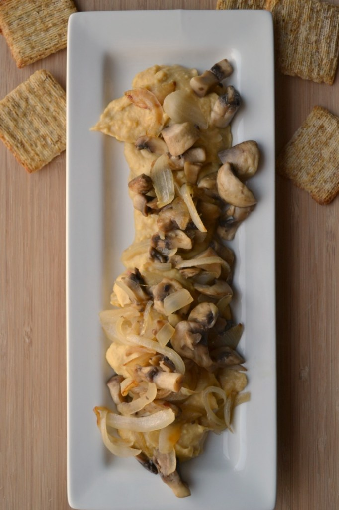 Sabra warm hummus with caramelized onions and mushrooms