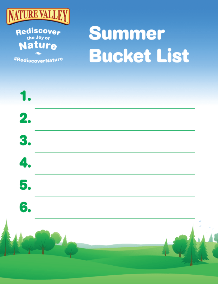 Summer Bucket List - Nature Valley Rediscover Nature - English