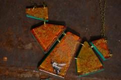 Honey Bee Geometric necklace in Orange