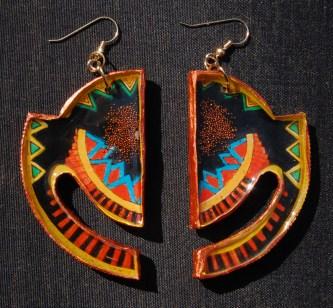 Geometric Horizon earrings in Copper