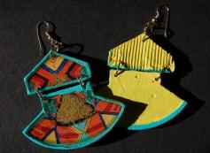 Geometric Fan earrings in Mint front & back