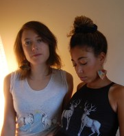 Bethany in Geometric Fan earrings & Myra in Pulse earrings