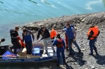 Evakuierung von Personen mit Hochwasserbooten