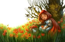Red Riding Hood Picking Flowers, Digital