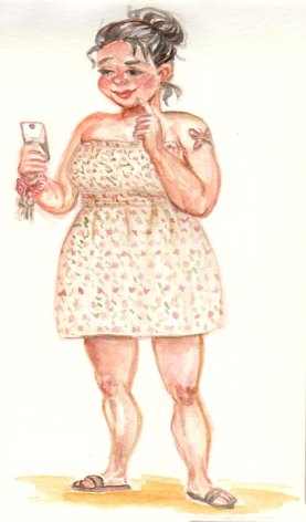 cell-phone-babydoll_dress-sketch-Felicia_Cano
