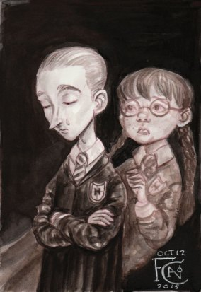 Draco and Myrtle for Inktober