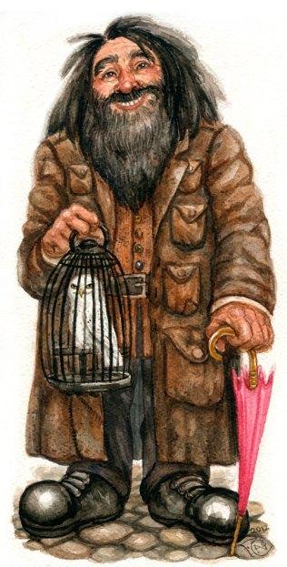 Hagrid with Hedwig Watercolor Sketch