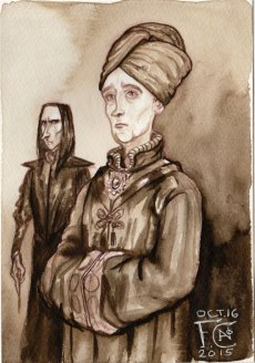 Professor Quirrell with Snape for Inktober
