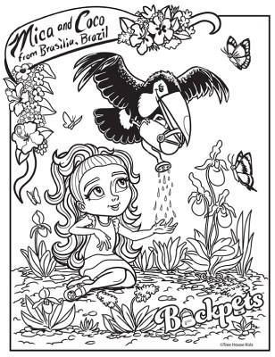 Coloring Book Page of Mica and Coco Digital ©Treehouse Kids