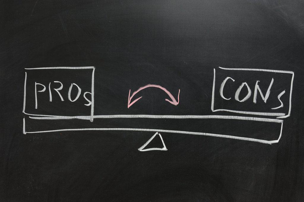 Chalkboard drawing - Measure of Pros and Cons
