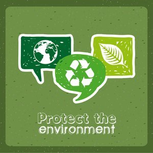 protect the environment over green background vector illustration
