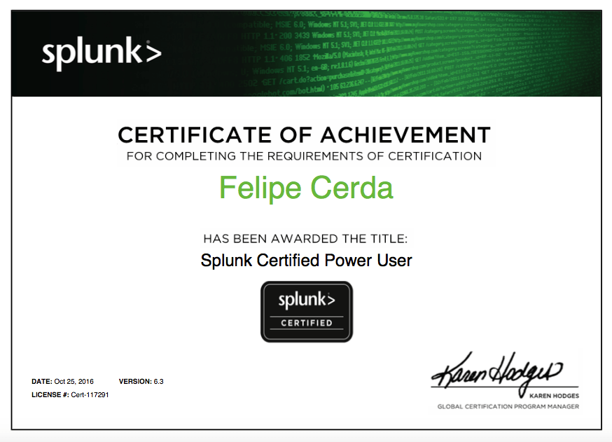 I'm now a Splunk Certified Power User!