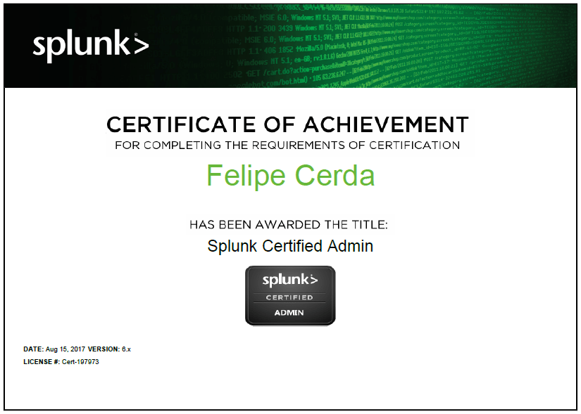 I'm now a Splunk Certified Admin!