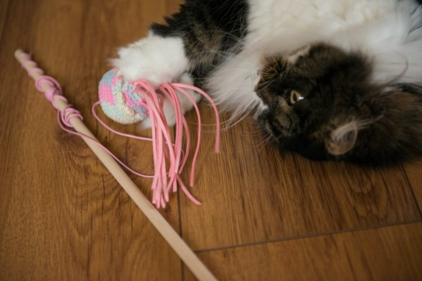 wędka zabawka dla kota meduza na sznurku
