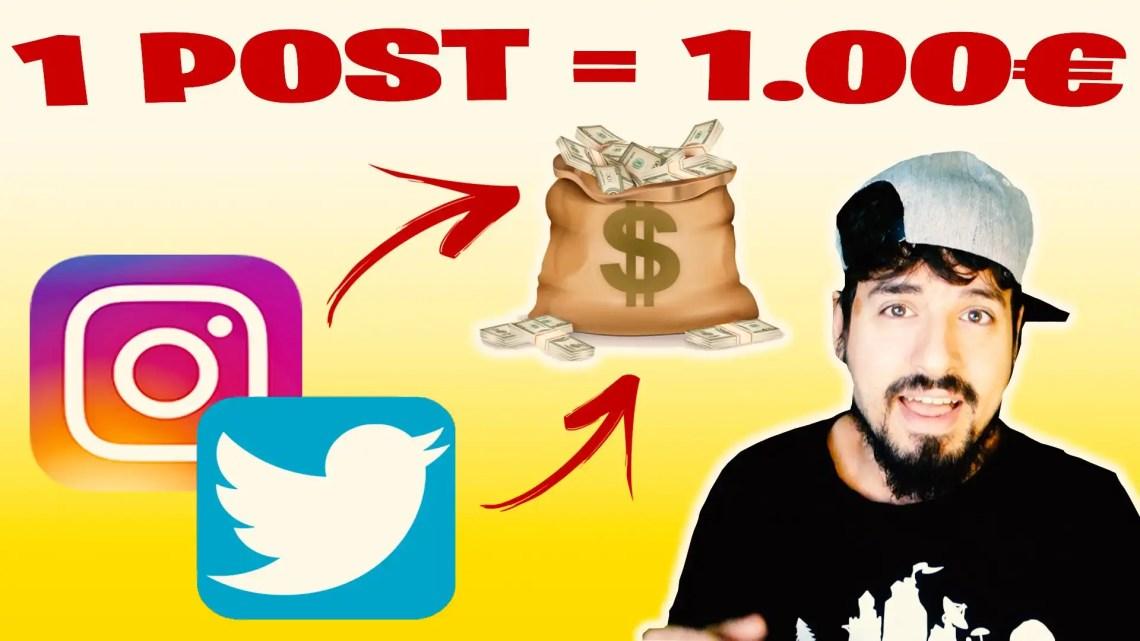 Guadagnare con Instagram e Twitter! 1€ A POST!