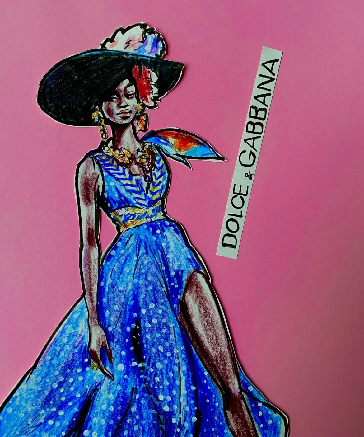 Illustration einer jungen Frau in einem ärmellosen langen Kleid in blau mit weissen punkten