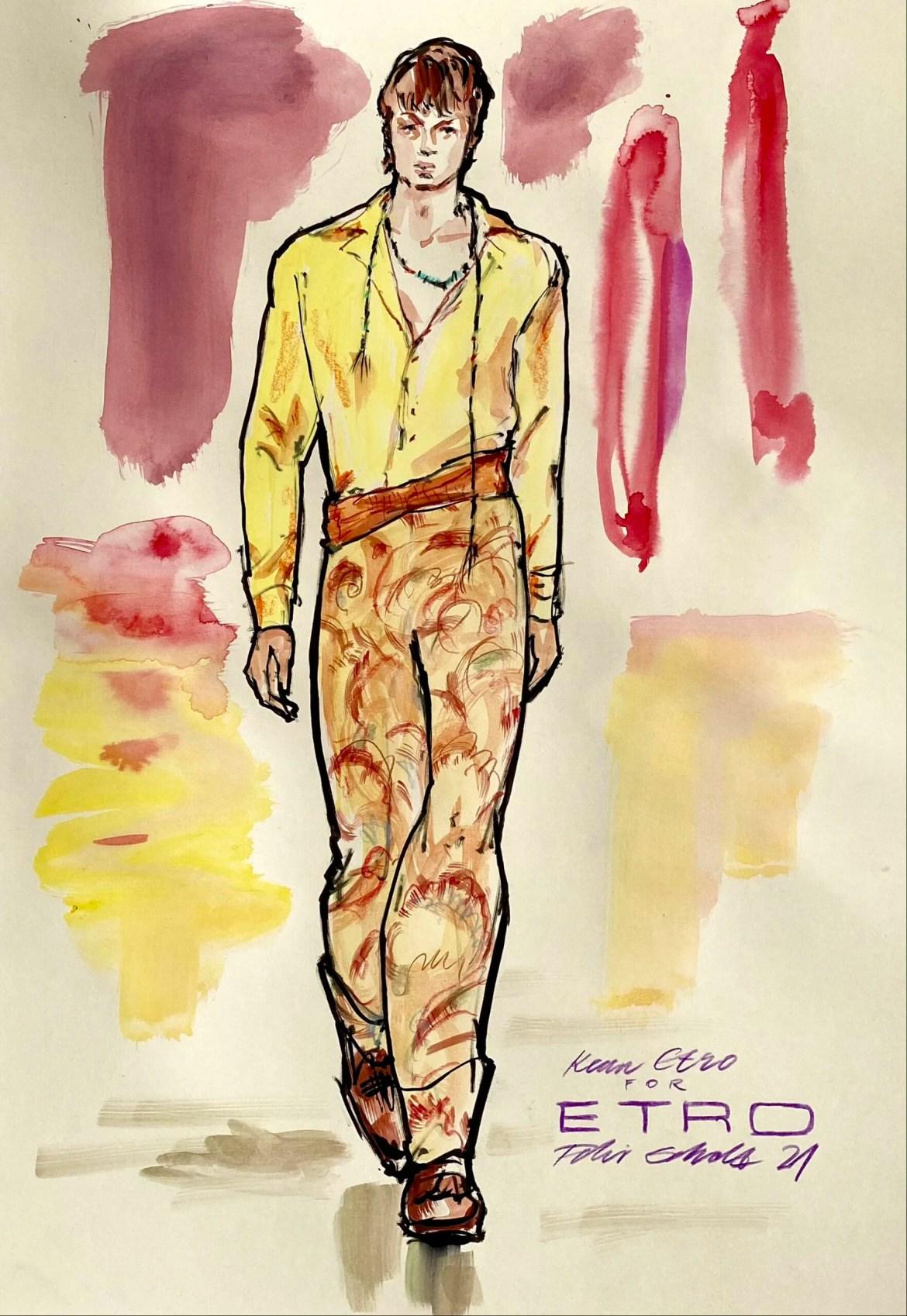 Modeillustration eines männlichen models mit orange gelben hosen