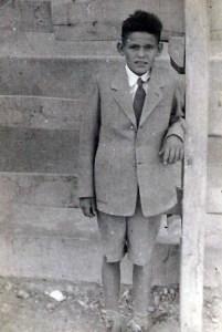 Félix Villafranca, a los 10 años de edad, en las fiestas del pueblo.