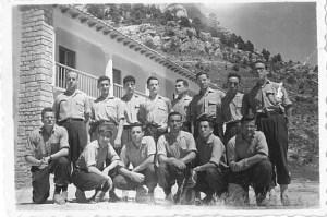 Félix y compañeros en la acampada de Tragacete