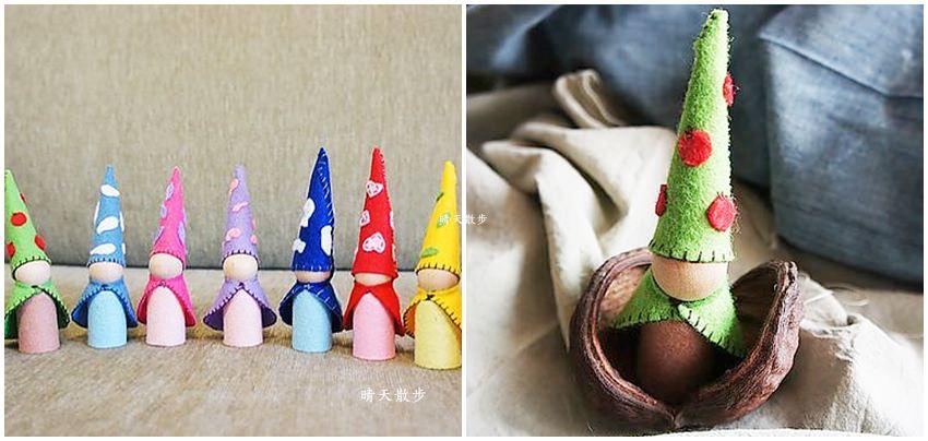 華德福手作 森林裡的地精娃娃~不織布與小木人的巧妙組合