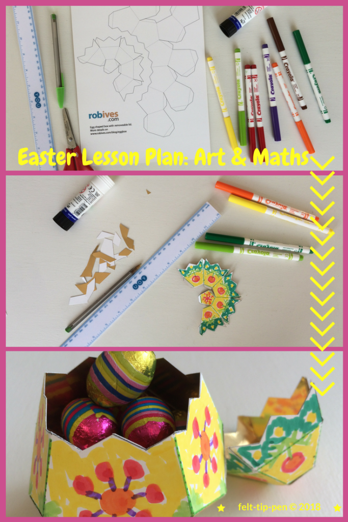 Easter egg art & maths lesson ⋆ Use a printed paper net template to create these two-part 3d eggs! Full powerpoint presentation with lesson instructions. #eastercrafts #papercrafts #teacherresources #artsed www.felt-tip-pen.com