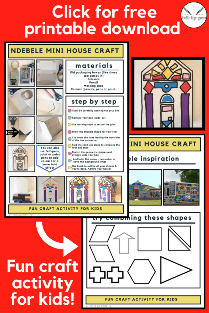 Printable download craft activity Ndebele mini house using colourful geometric shapes. Art and design for 11 to 14 year olds/KS3. #ArtsEd #teachingresource #freebieprintable
