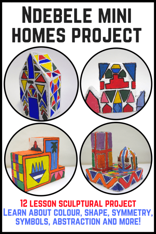 Fantastic practical art project taking inspiration from the South African Ndebele art of mural painting. 12 full lesson presentations and worksheets. Everything you need to produce beautiful, personal, 3d houses. #Ndebele #artteaching #colour #artsed