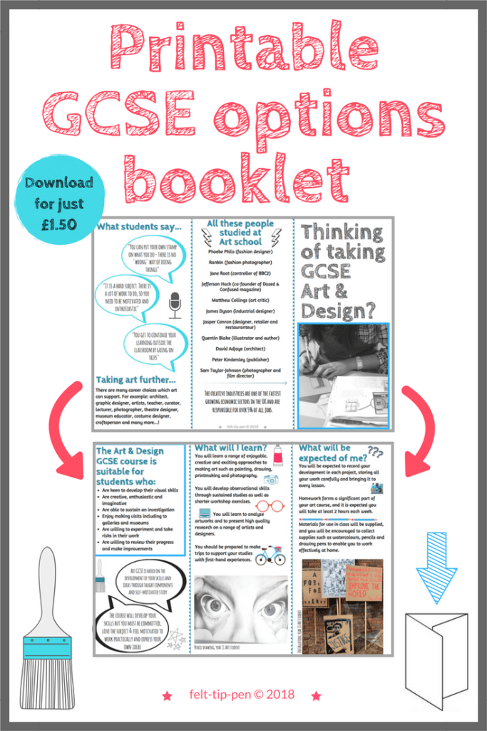 Options choices… the case for Art & Design - help students make the right decision when choosing subjects - printable leaflet promoting the importance of arts education and outlining expectations