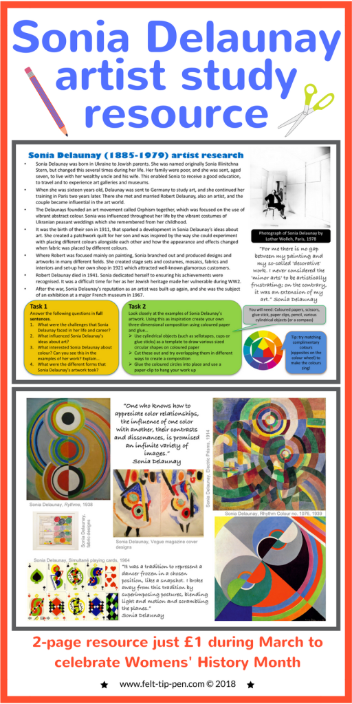 Celebrate #IWD with a fantastic artist resource on Sonia Delaunay for just £1. Students complete a comprehension task about the artists and a practical activity responding to their work. #artteacher #resources #arthistory