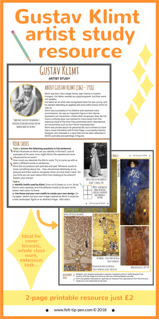 Gustav Klimt artist research & analysis worksheet * perfect introduction to the artist for high school students * background information on the artist, comprehension task and practical response focusing on Klimt's use of motifs. Perfect for sub lessons, whole class work, extension activity or a cover lesson.