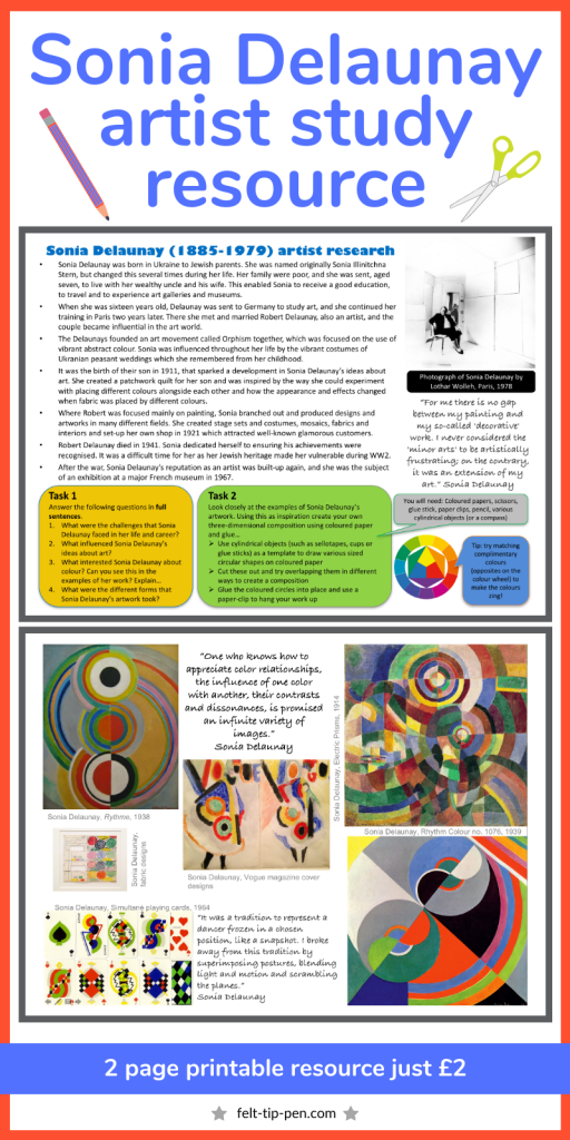Sonia Delaunay artist research worksheet