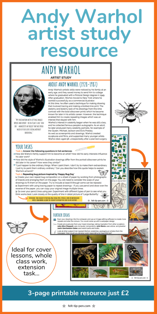 Andy Warhol artist research study handout worksheet insect sketching