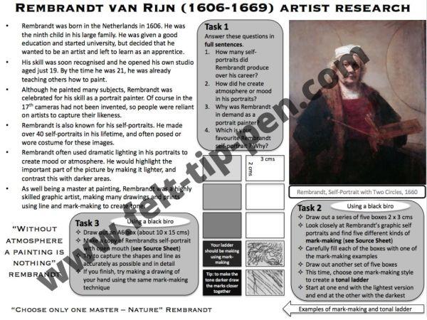 Rembrandt artist study worksheet
