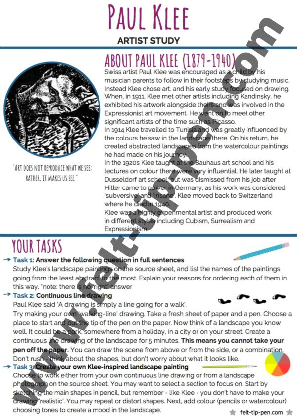 Paul Klee artist study worksheet