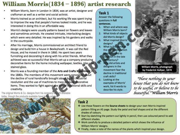 William Morris artist study worksheet