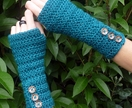 Turquoise Crochet Armwarmers With Fancy Buttons