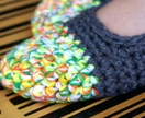 Crochet Slippers for Women, House Shoes in Grey & Neon Citrus Multicolour