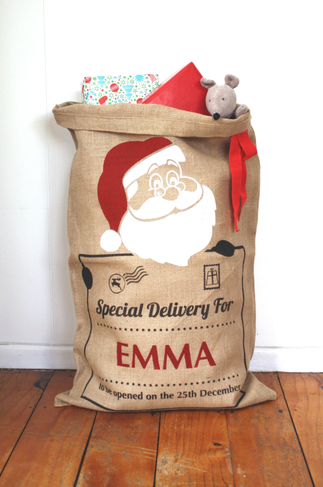 Personalised Hand Screenprinted Santa Sack Santa Claus