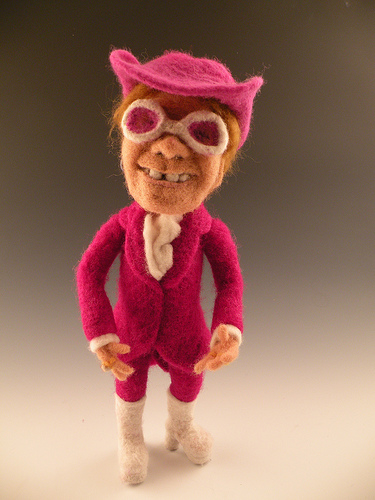 Elton John needle felted wool celebrity doll by needle felt artist Kay Petal