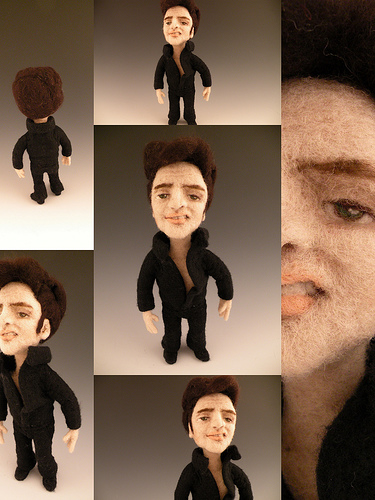Elvis Presley needle felted wool doll by needle felt artist Kay Petal