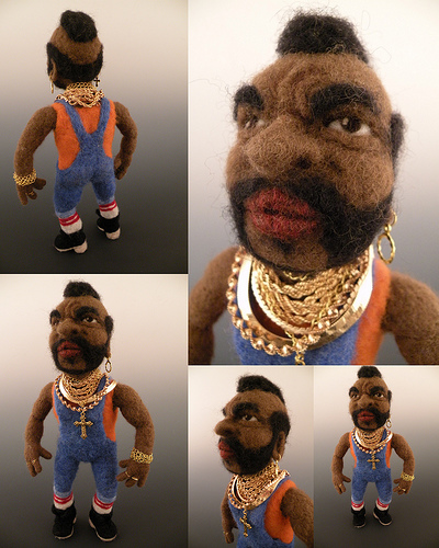 mr. t doll - needle felted by Kay Petal - Felt Alive Wool Sculptures