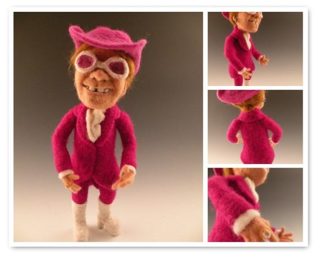 elton john doll - needle felted by Kay Petal - Felt Alive Wool Sculptures