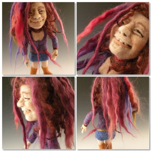 Janice Joplin needle felted wool celebrity doll by needle felt artist Kay Petal