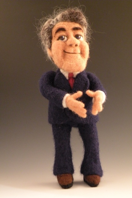 Needle Felted Jay Leno Doll by Kay Petal