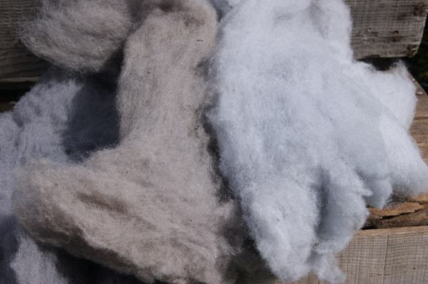 Dyed Wool in Shades of Gray for needle felting