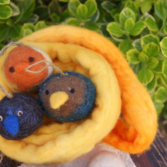 felted wool ball bird ornaments