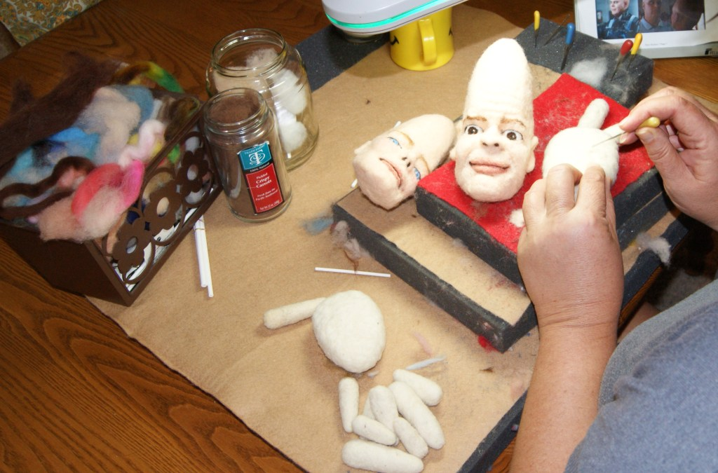 needle felting the coneheads custom caricature dolls