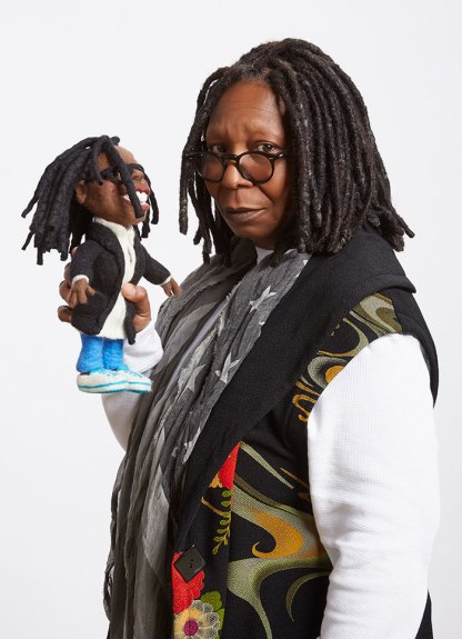 Whoopi Goldberg with her Felt Alive Li'l Whoopi figure caricature Doll