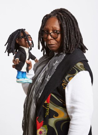 Whoopi Goldberg with her Felt Alive Li'l Whoopi figure caricature Doll